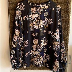 Black flower print top